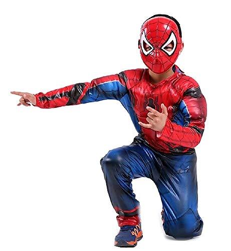 Spiderman kostuum met spierbuste en masker, Spider-Man, kinderkostuum Taglia S - 3-5 anni Rood