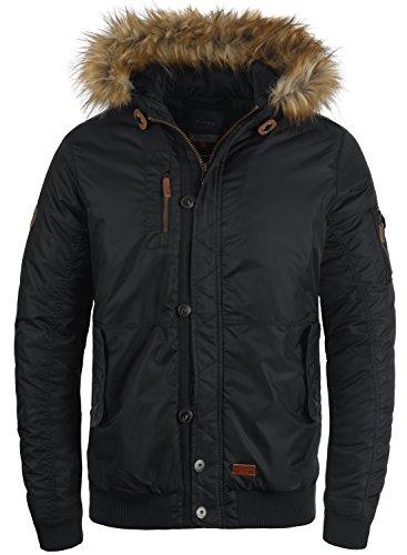 Blend Egon Herren Winter Jacke Herrenjacke Winterjacke gefüttert mit Kunst-Fellkapuze, Größe:L, Farbe:Black (70155)