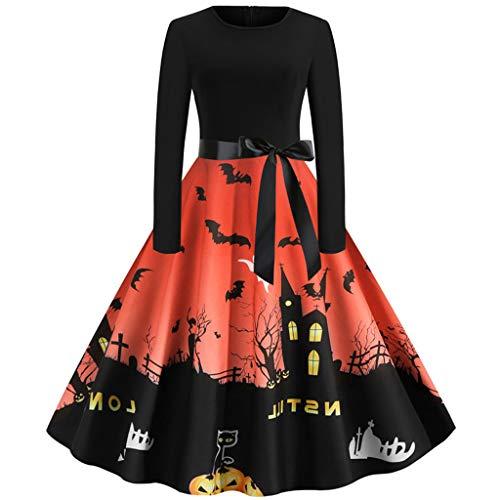 POPLY Damen Halloween Druck Hepburn Rockabilly Vintage Kostüm der 1950er Jahre Retro Cocktail Swing Party Kleid für Frauen