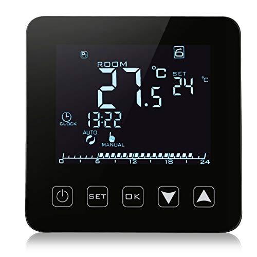 WANG WiFi-Funktion Optionales elektrisches Heizungsthermostat 16A LCD-Display Temperaturregler für elektrische Fußbodenheizung,Standardblack