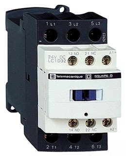 Schneider Electric LC1D32M7 3 pole, 32 AMP contactor with 220v50/60Hz coil and 1 NO/1 NC base auxiliary contact