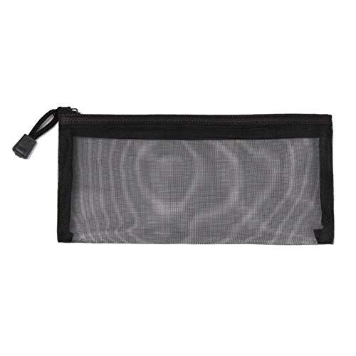 Huien Simple Transparent Mesh Cosmetic Storage Bag Clear Zipper Papeterie Bag Nylon Makeup Pouch Portable Travel Toiletries Hand Bag, Small - Black