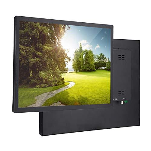 Monitor Portátil, Pantalla Táctil Resistiva TFT de 17 Pulgadas 1280x1024 Monitor Industrial de Entrada Rica en Metales para Raspberry Pi, PC, TV, CCTV, Videocámara, Seguridad, Dron(EU)
