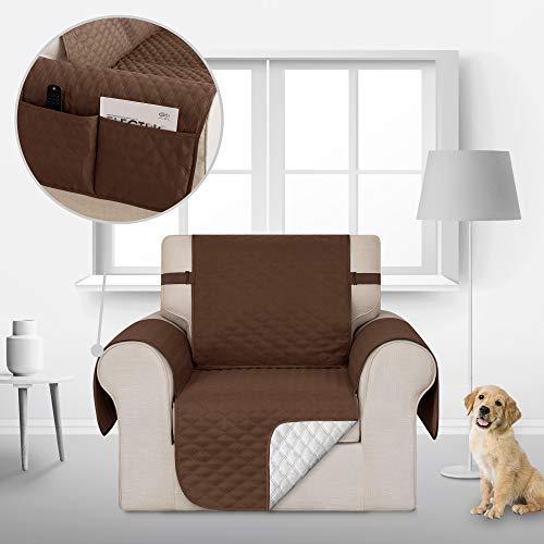Deconovo Sofabezug Sofaüberwurf Sofahusse Sesselbezug Wohnzimmer Sofaschoner 54x190 cm Schoko 1-Sitzer
