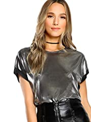 94% polyester + 6% spandex, soft, breathable and comfortable fabric Round neck, cap sleeve, shiny tops for women Sexy shiny fabric, round neck, loose design and lightweight, fashionable and eye-catching Hand Wash Cold and Warm Iron; Do Not Machine Wa...