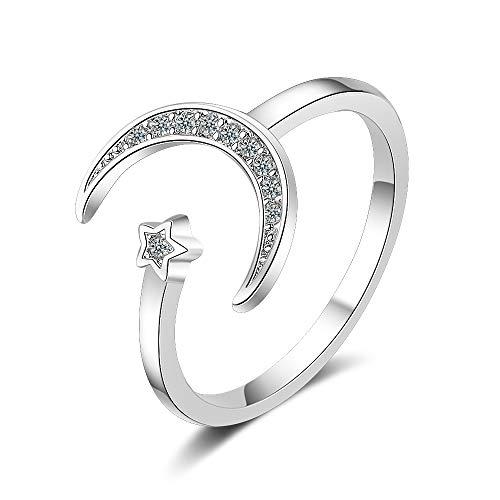 Esberry - Anello placcato oro 14K con luna e stella, anello aperto alla moda, per ragazze e donne