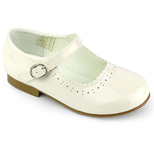 Girls Spanish Style Mary Jane Shoes Shiny Patent Cream Size UK12 Child