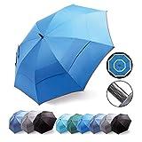 HOSA Auto Open Large Golf Umbrella Night Safety Reflective Strip | Windproof Waterproof UV...
