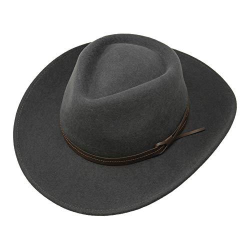 Borges & Scott Hardy - Leichter Fedora Hut mit breiter Krempe und Lederband - 100% Wollfilz - Für die Reise knautschbar - Wasserabweisend - 60cm Dunkelgrau