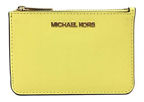 Michael Kors Jet Set Travel Small Top Zip Coin Pouch with ID Holder in Saffiano Leather (Sunshine Yellow, 1)