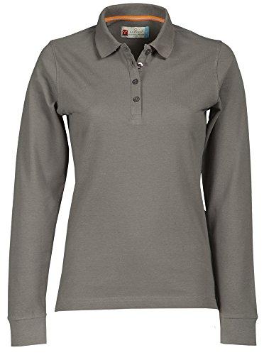Damen Langarm Polohemd Baumwoll Piquet Polo-Shirt Longsleeve Modell Florence Smoke XL