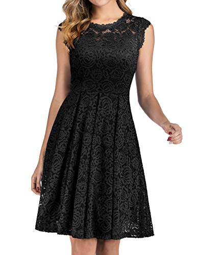 Meetjen Damen Festliche Cocktailkleid Elegante Abendkleid Hochzeitskleid Knielang Brautjungfern Midi Spitzenkleider Schwarz Black S