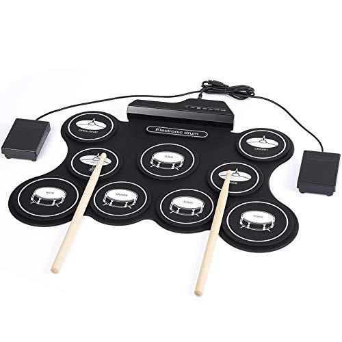 Tragbares Elektronisches Schlagzeug Pad, Digital Berührungsempfindliches Roll-Up-Schlagzeug,7 beschriftete Pads und 2 Fußpedale für Kinder Anfänger(keine Lautsprecher/AAA-Batterie betrieben)