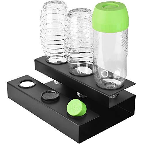 Sodastream Flaschenhalter, Soda Stream Glasflaschen Neu Gestalteter Flaschenhalter, AbflussstäNder FüR Kristallglasflaschen, Flaschenregal Aus Hochwertigen Materialien Abtropfen Lassen(Schwarz)