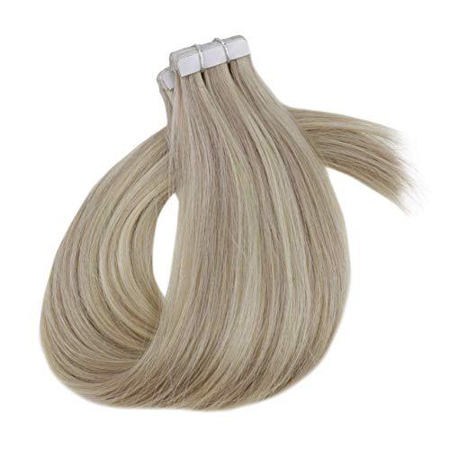 RUNATURE Tape Haarverlenging 18 Inch 50g 20Pcs Stijl Haarkleur 18 Asblond Mixed With 60 Platinablond Remy Haarextensie Skin Weft Hair Extensions