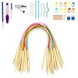 BAMZOK 18 pares de agujas circulares de bambú redondas de doble punta agujas de...
