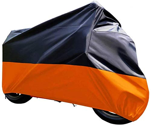 Tokept Black and Orange Waterproof Sun Motorcycle Cover (XXXL).116' for Honda Kawasaki Yamaha Suzuki Harley Davidson