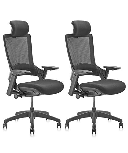 CLATINA Ergonomic High Swivel Executive Chair with Adjustable Height Head 3D Arm Rest Lumbar Support and Upholstered Back for Home Office BIFMA Certified Black Mesh 2 Pack