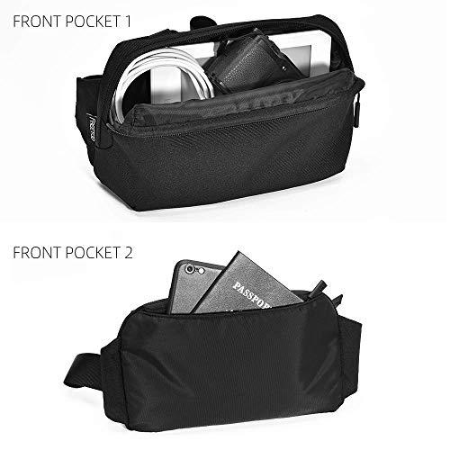 FREETOO Bum Bag Waist Pack Waterproof Tearproof Fanny Pack for Men Women Commuting,Shopping,Training,Jogging,Cycling,Hiking,Travel,Fitness,Black