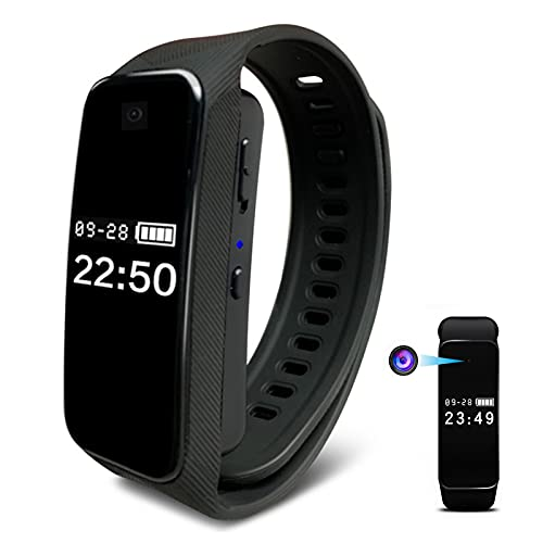 Cámara Espía Smart Bracelet Cámara Oculta,Recargable Batería Incorporada Reloj Deportivo Mini Spy Camera,Inalámbrico Conexión De Teléfono Móvil Spy Camera-Negro 16 GB