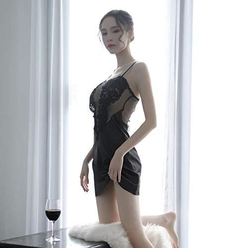 Conjuntos de lencería para Mujer Corsés para Mujer Pajamas Women's Sexy Lingerie Pajamas Flirting Men's Lace Sheer Gauze Strap Home Set-White_One Size