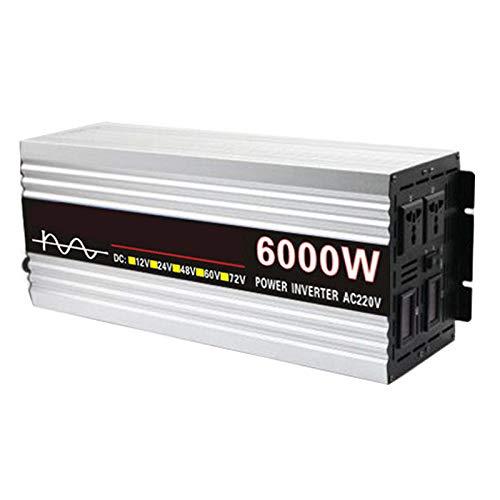 FDQNDXF Inversor de Energía de Onda Sinusoidal Pura 4000W / 5000W / 6000W DC 12V / 24V / 48V / 60V a AC 220V Convertidor de Automóvil con Salidas de CA Dobles y Pantalla Digital,24v to 220v,6000W