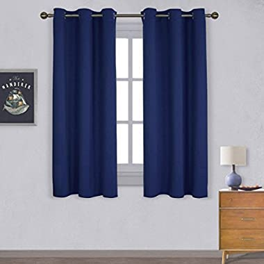 NICETOWN All Season Thermal Insulated Solid Grommet Top Blackout Curtains/Drapes/Panels for Kid's Room (1 Pair,42 x 63 Inch In Navy Blue)