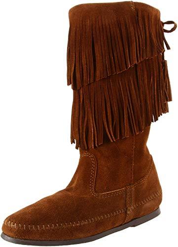 Minnetonka Damen 2-Layer Fringe Boot Stiefel, Braun (Dusty Brown), 37 EU