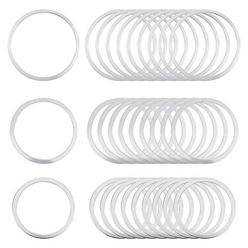 UNICRAFTALE 30pcs 3 tamaños O Ring Link Silver Charm Conectores de Enlace de Acero Inoxidable Anillo Enlaces de Joyería para Pulsera Collar Fabricación de Joyas