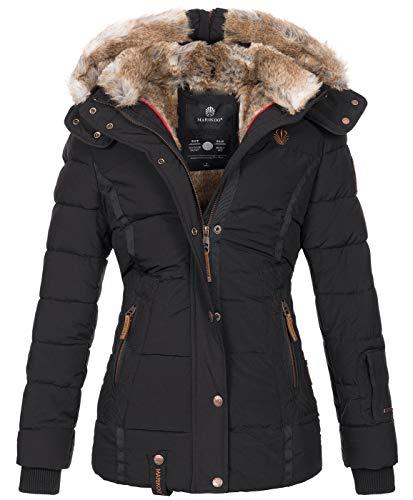 Marikoo warme Damen Winter Jacke Winterjacke Steppjacke gefüttert Kunstfell B658 [B658-Nek-Schwarz-Gr.XL]