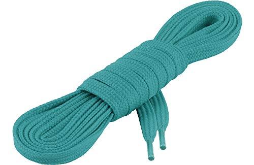 Ladeheid Qualitäts-Schnürsenkel LAKO1001, Flachsenkel für Arbeitsschuhen und Sportschuhen aus 100% Polyester, ca. 7 mm Breit, 18 Farben, 60-200 cm Länge, Türkis252, 110cm