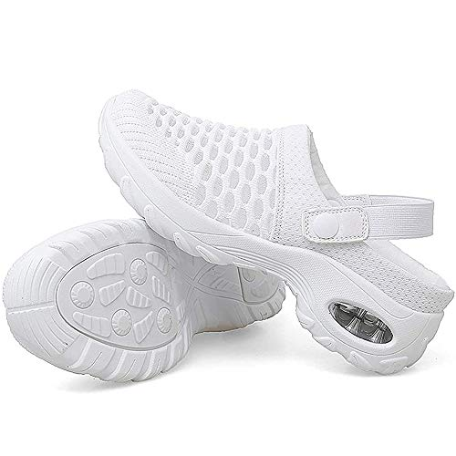 Women's Breathable Trainers, Walking Shoes,Breathable Casual Air Cushion Slip-on Shoes,Lightweight Shoes For,Sports,Leisure,Outdoor Fitness,Gym, Walking,Garden Shoes (White, 43)