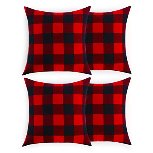 Volcanics Christmas Pillow Covers Buffalo Check Plaid Throw Pillow Covers Set of 4 Farmhouse Decorative Square Pillow Cover Case Cushion Pillowcase 18x18 Inches for Home Decor, Red and Black