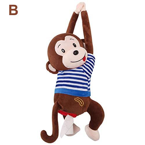 Taschentücherbox Kosmetiktücherbox Taschentuchspender, Affe Taschentücher Box, Niedlich Rücksitz Papierhalter Für Auto Küche Zuhause Büro Schreibtisch Tisch - Hängen Affe Puppe Taschentuchspender