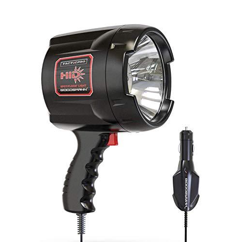 GOODSMANN HID Portable Handheld Light 2000 Lumen Spotlight Floodlight of 35 Watt with 12V Car Charger and Nylon Storage Bag