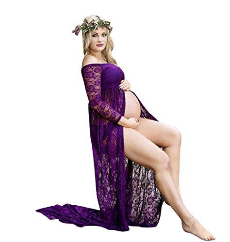 ZEZKT♪Schwangere Frauen Chiffon Split Front Lange Kleid Schwangere Frauen Fotoshooting Requisiten Sommerkleid Wimpern Spitze Kleid Fotografie Kleidung Maxikleid (XL, Violett)