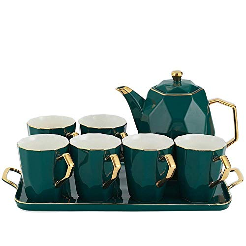 Yamyannie-Home European Porcelain Handmade Tea Set Coffee Cup and Saucer Set Flower Teacup Afternoon Tea Set Malachite Green (Color : Green, Size : 23x24cm)