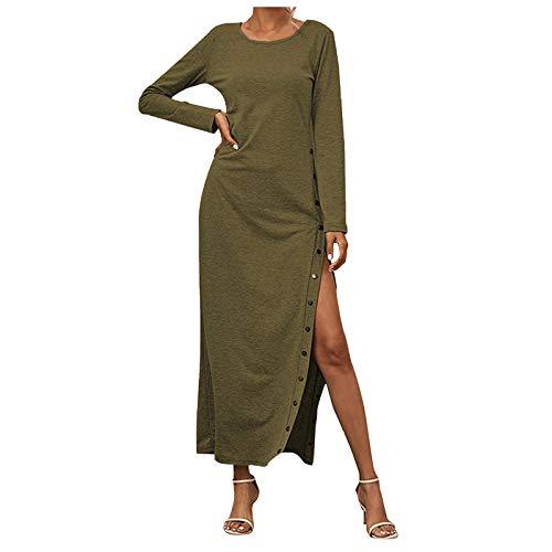 Moda Mujeres Otoo Invierno Largo Tobillo Longitud Vestido Slido Color Manga Larga O-Cuello Lado Split Botn Falda Vestido
