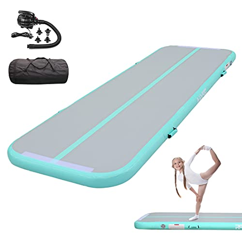 PPXIA Tumble Track Air Mat Inflatable Tumbling Mat 4 inches Thickness Air Floor Gymnastics Mats with Air Pump for Cheerleading Yoga Training Home Use Beach Park and Water