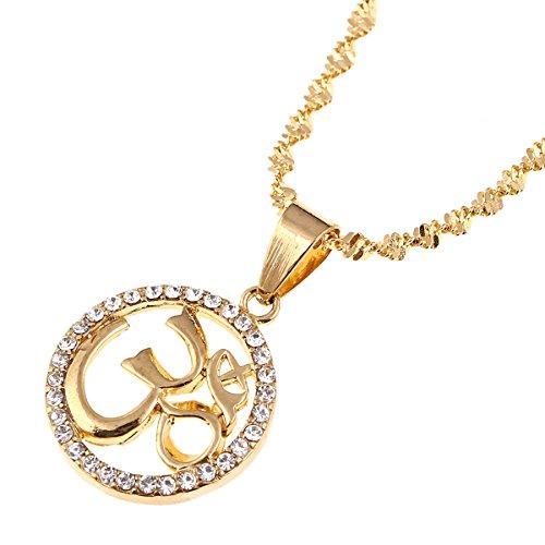 BR Gold Jewelry Hinduism Pendant Necklace Aum Om Ohm Sanskrit Pendant Necklace