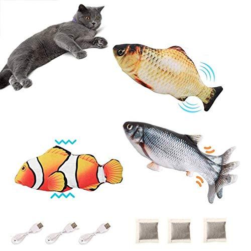 BangShou 3 Stück Elektrisch Spielzeug Fisch USB Elektrische Plüsch Fisch Kicker Katzenspielzeug mit Katzenminze für Katze zu Spielen, Beißen, Kauen und Treten