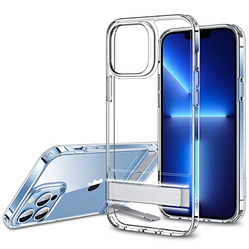 ESR Metal Kickstand Case Compatible with iPhone 13 Pro Case, Patented Two-Way Stand, Reinforced Drop Protection, Slim Flexible Back Cover, Clear