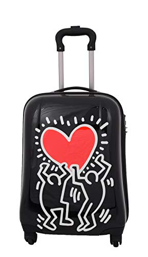 Cabin Size Hand Luggage Sturdy Hard Shell 4 Wheels TSA Suitcase Bag HLG122 Heart