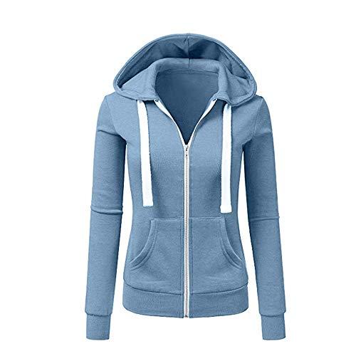 Newbestyle Jacke Damen Sweatjacke Hoodie Sweatshirtjacke Pullover Oberteile Kapuzenpullover (Hellblau, L)