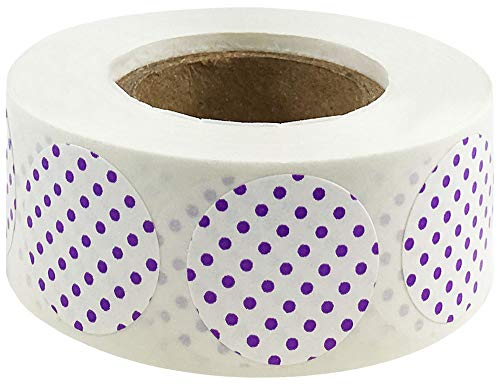 White with Purple Polka Dot Color Coding Labels for Organizing Inventory 0.75 Inch Round Circle Dots 500 Total Adhesive Stickers On A Roll