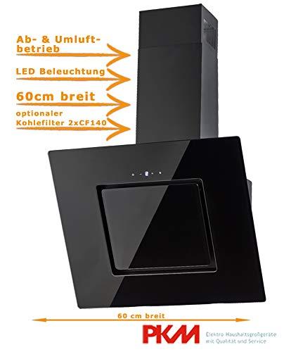 Wandhaube Schwarz | 60cm | Schwarzer Glasschirm | Randabsaugung | Touch Control & LED Beleuchtung | Abluft- und Umluftgeeignet