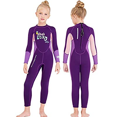 NATYFLY Kids Wetsuit,2.5mm Neoprene Thermal One Piece Swimsuit,Boys Girls and Toddler Wet Suits for Scuba Diving,Youth Full Suit (Purple, Large/4-5Years Old)