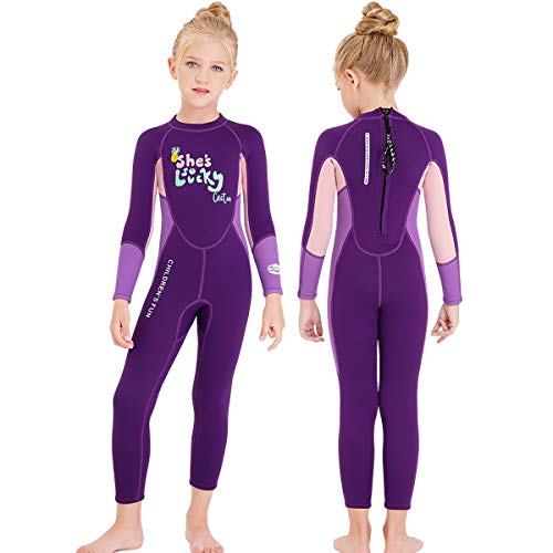 NATYFLY Kids Wetsuit,2.5mm Neoprene Thermal One Piece Swimsuit,Boys Girls and Toddler Wet Suits for Scuba Diving,Youth Full Suit (Purple, Medium/3-4Years Old)