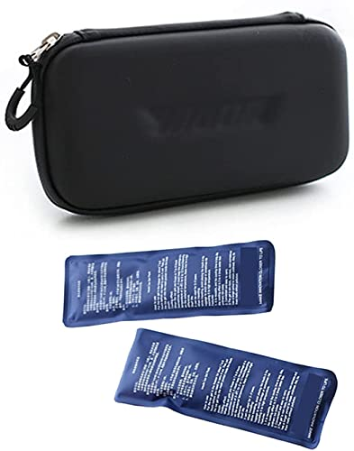 LSWY Bolso Fresco de insulina, Caja de Enfriador de Viaje médico portátil con 2 Paquetes de Hielo, hasta 12 Horas de Tiempo Fresco, para insulina y Otros medicamentos, Rojo (Color : Black)