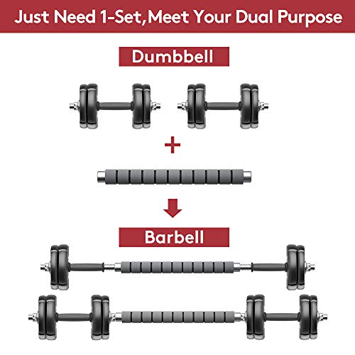 Product Image 2: RUNWE Adjustable Dumbbells Barbell Set of 2, 33 lbs Free Weight Set with Steel Connector Home Office Gym Fitness Workout Exercises for Men/Women/Beginner/Pro